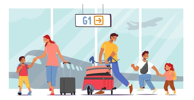 Genitori felici e bambini nel terminal dell'aeroporto, madre e padre che viaggiano con bambini, personaggi familiari con borse a piedi in aereo. persone che volano in vacanza estiva. fumetto illustrazione vettoriale
