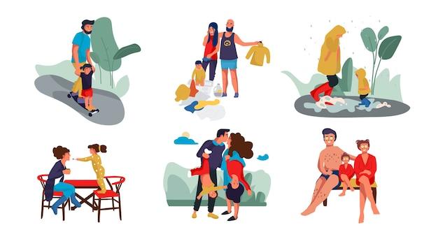 Genitori felici e bambini personaggi dei cartoni animati alla moda che trascorrono del tempo insieme a casa e all'aperto