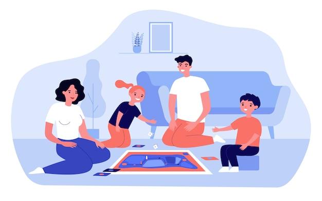 Genitori felici e bambini che giocano gioco da tavolo