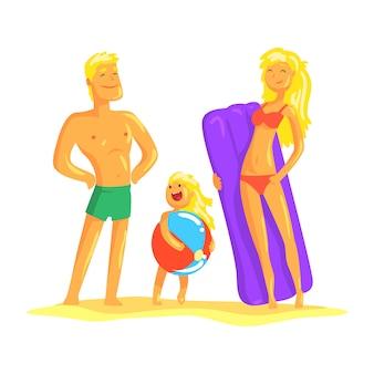 Genitori felici e il loro figlio che riposano sulla spiaggia, illustrazione di vacanza estiva