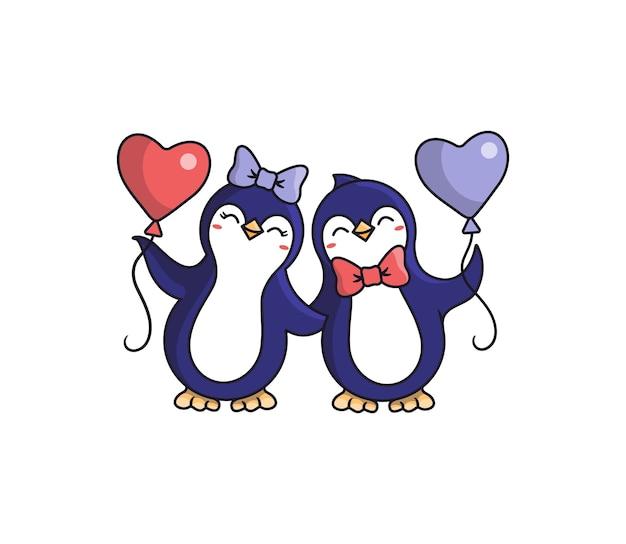 I pinguini felici tengono in mano i cuori dei palloncini. animali da cartone animato, ragazzo e ragazza con un inchino alla festa, compleanno, fine settimana.
