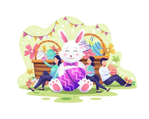 Le persone felici celebrano il giorno di pasqua con un coniglietto, cesti pieni di uova di pasqua e illustrazione di fiori