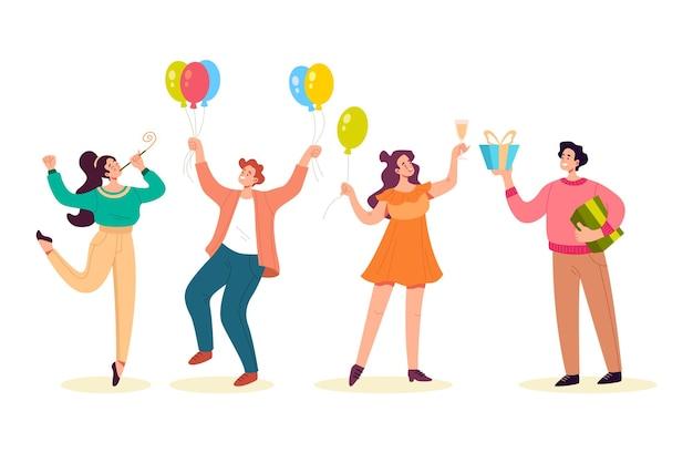 Gente felice che balla sorridente che dà regali e celebra l'insieme isolato di feste.