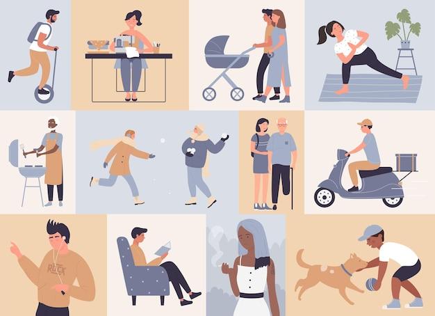 La scena quotidiana delle persone felici ha impostato gli amici dei cartoni animati di personaggi di uomo e donna