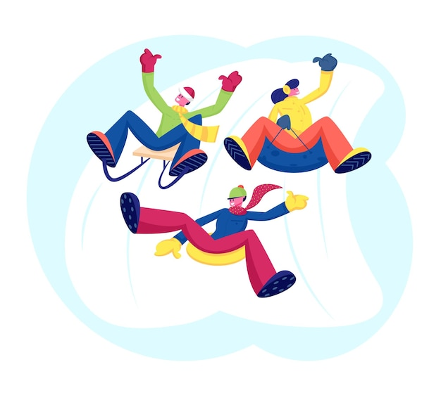 Happy people friends company esecuzione di attività ricreative all'aperto equitazione in discesa cartoon illustrazione piatta
