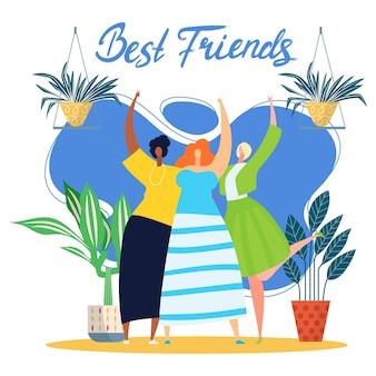 Illustrazione vettoriale di amicizia di persone felici carino migliore amico insieme giovane donna ragazza carattere abbraccio...