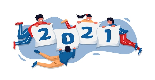 Persone felici che tengono la bandiera del nuovo anno e che volano insieme nell'illustrazione