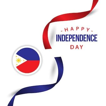 Progettazione felice del modello di vettore di giorno dell'indipendenza delle filippine