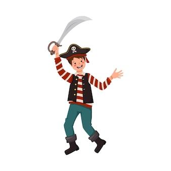 Felice pirata ragazzo con sciabola e cappello a tre punte gioioso ragazzo in costume di carnevale agitando spada panno festivo...