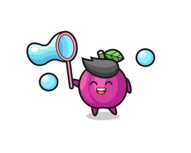 Cartone animato felice frutta prugna che gioca bolla di sapone, design in stile carino per t-shirt, adesivo, elemento logo