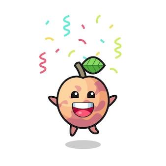 Felice mascotte di frutta pluot che salta per congratulazioni con coriandoli colorati, design in stile carino per t-shirt, adesivo, elemento logo