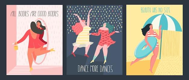 Happy plus size donne che ballano, si incontrano, prendono il sole con testo ispiratore.