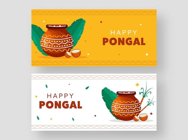 Happy pongal celebration banner design con pentola di fango
