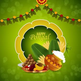 Fondo felice della cartolina d'auguri di celebrazione pongal