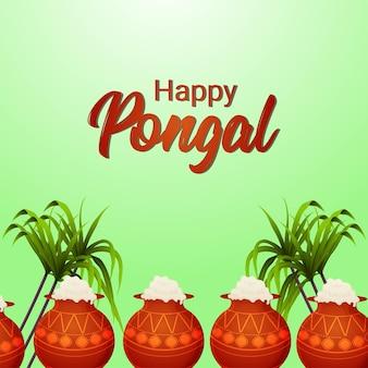 Fondo felice della cartolina d'auguri di celebrazione di pongal