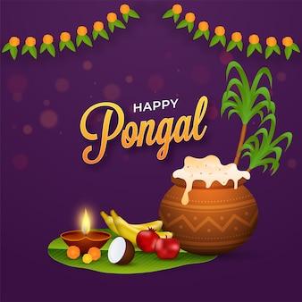 Happy pongal celebration poster design con riso pongali in pentola di fango