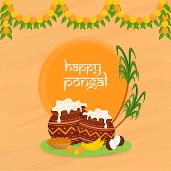 Felice pongal celebration poster design con pentole di fango piatto tradizionale