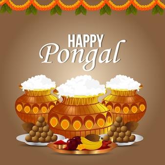 Happy pongal, festa del raccolto dell'india celebrazione e vaso di fango con puja thali