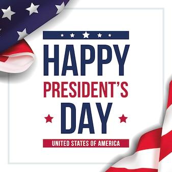 Happy presidents day celebra il banner con sventolando la bandiera nazionale degli stati uniti e saluti delle vacanze scritte a mano.
