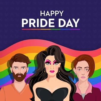 Bandiera del giorno dell'orgoglio felice con ritratto di persone non binarie di drag queen glamour