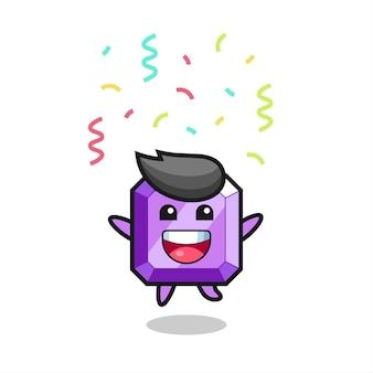 Felice mascotte di pietre preziose viola che salta per congratulazioni con coriandoli colorati, design in stile carino per maglietta, adesivo, elemento logo