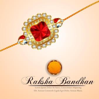 Fondo felice di celebrazione di raksha bandhan con rakhi realistico
