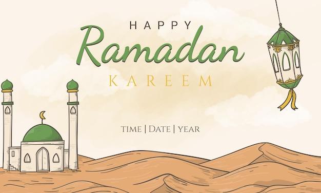 Felice ramadan kareem con ornamento illustrazione islamica disegnata a mano