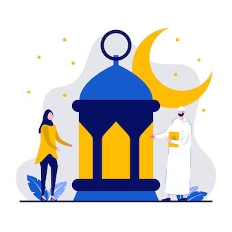 Felice ramadan mubarak concetto di saluto con persone minuscole