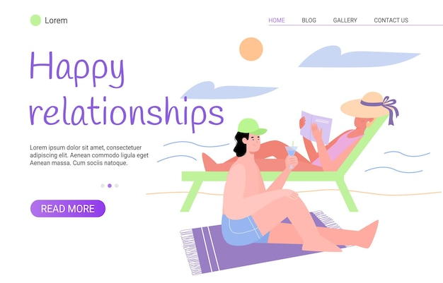 Modello di relazione felice con coppia che trascorre le vacanze estive insieme