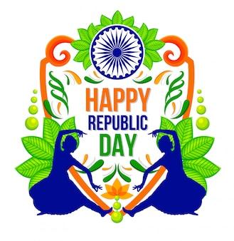 Felice festa della repubblica sfondo indiano festival