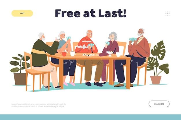 Concetto di pensionamento felice della pagina di destinazione con un gruppo di persone anziane che giocano a carte