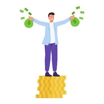 Uomo ricco felice, personaggio dell'uomo d'affari che tiene sacchi di denaro contante. illustrazione vettoriale in stile cartone animato.
