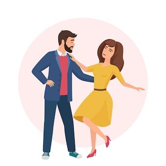 Uomo bello romantico felice e donna graziosa. tempo insieme.