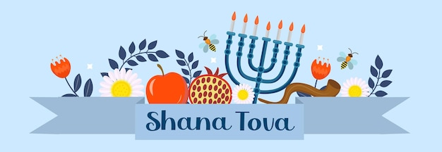 Banner di rosh hashanah felice. modello shana tova per il tuo design con simboli e fiori tradizionali. festa ebraica. felice anno nuovo in israele. illustrazione vettoriale