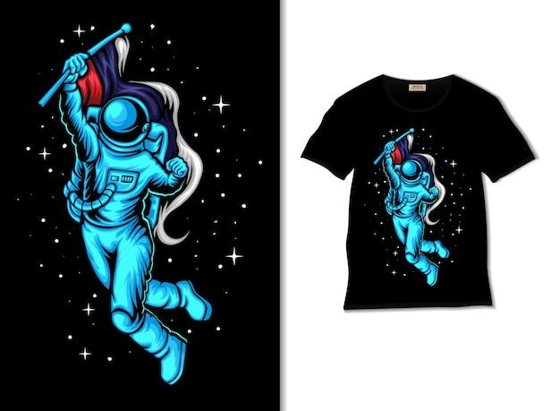 Felice giorno della russia nello spazio illustrazione con design t-shirt