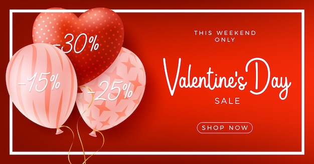Felice e sicuro san valentino con cuore di palloncini