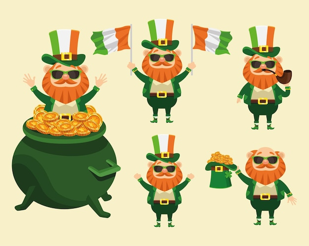 Felice giorno di san patrizio poster con un fascio di cinque personaggi personaggi leprechaun illustrazione dei caratteri