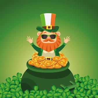 Felice giorno di san patrizio poster con leprechaun nell'illustrazione del calderone del tesoro