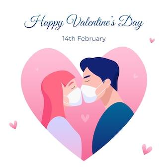 Felice piazza san valentino con baciare gli amanti in maschere facciali. celebrazione delle vacanze sotto la pandemia di coronavirus.