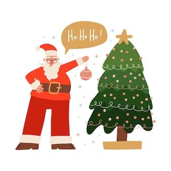 Babbo natale felice sta decorando il personaggio festivo dell'albero di natale appeso il vettore piatto del giocattolo di natale...