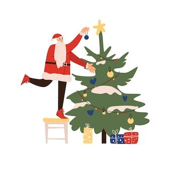Babbo natale felice sta decorando l'albero di natale design piatto illustrazione vettoriale isolato