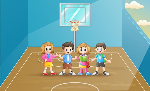 Scolari felici nel campo da basket