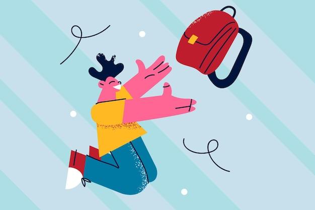 Illustrazione di tempi di scuola felice