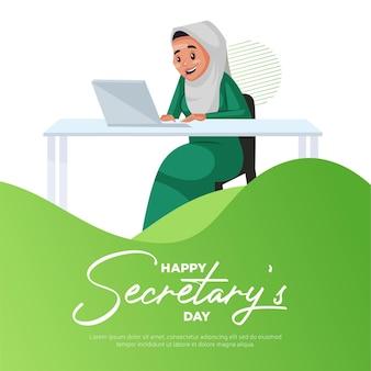 Modello di progettazione banner per il giorno del segretario felice happy