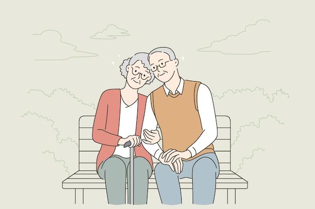Concetto di stile di vita delle persone anziane felici