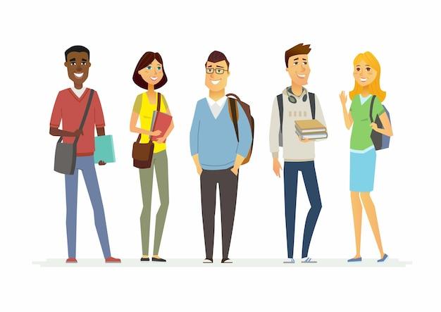 Studenti felici delle scuole superiori - personaggi dei cartoni animati illustrazione isolata. ragazzi e ragazze sorridenti con libri e borse. fai un'ottima presentazione con questi allegri adolescenti internazionali
