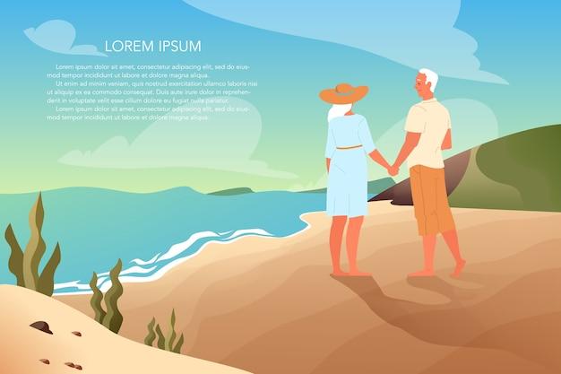 Anziani felici che trascorrono del tempo insieme su una spiaggia tropicale. coppia di pensionati durante le vacanze estive. pagina di destinazione o concetto di banner web.