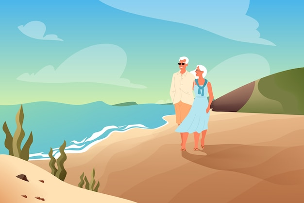 Anziani felici che trascorrono del tempo insieme su una spiaggia tropicale. coppia di pensionati durante le vacanze estive. pagina di destinazione o banner web.