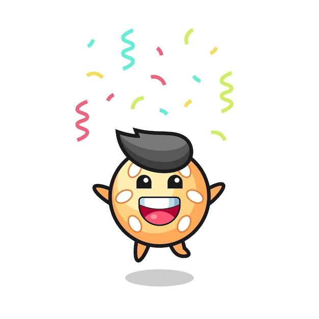 Felice mascotte della palla di sesamo che salta per congratulazioni con coriandoli colorati
