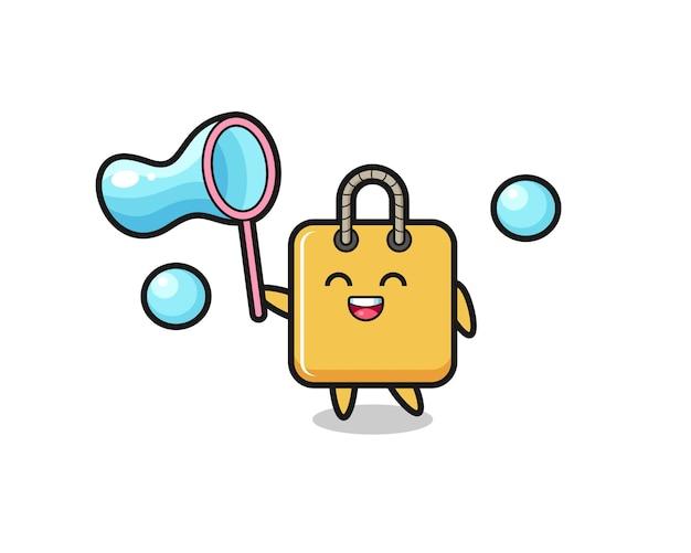 Cartone animato felice shopping bag che gioca bolla di sapone, design in stile carino per t-shirt, adesivo, elemento logo
